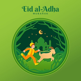 Eid al-adha greeting card concept illustration in paper cut style with muslim boy bring goat for sacrifice