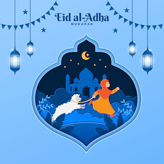 Eid al-adha greeting card concept illustration in paper cut style with muslim girl bring sheep for sacrifice