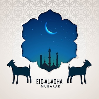 Eid al-adha greeting card for muslim holiday