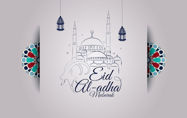 Eid al-adha greeting card with goat head silhouette and mosque