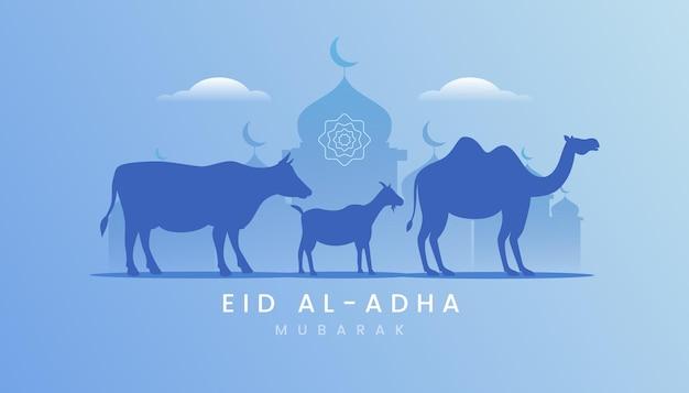 Ид аль-адха поздравительная открытка с темой градиента синего цвета.