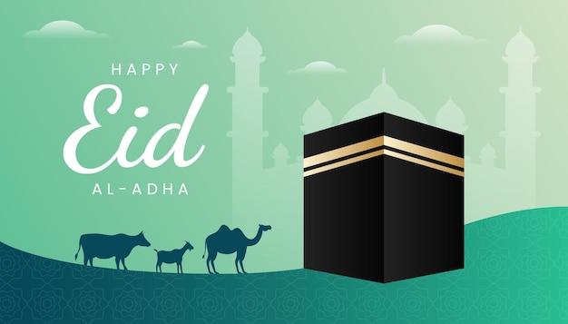 Поздравительная открытка eid al adha с темой градиента зеленого цвета и иллюстрацией kaaba.