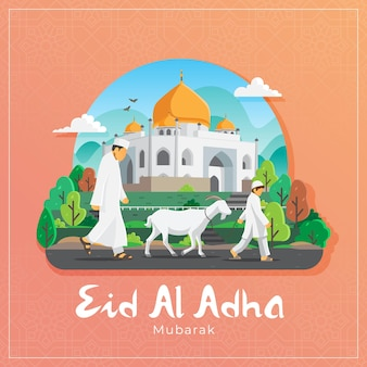 Eid al adha greeting card with muslim man and boy carrying white goat