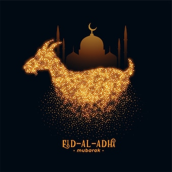 Eid al adha greeting with goat and mosque