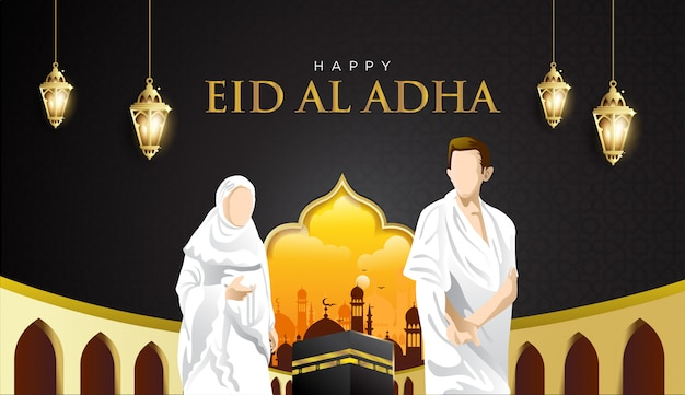 Eid al adha and hajj mabrour background with kaaba, man and woman hajj character