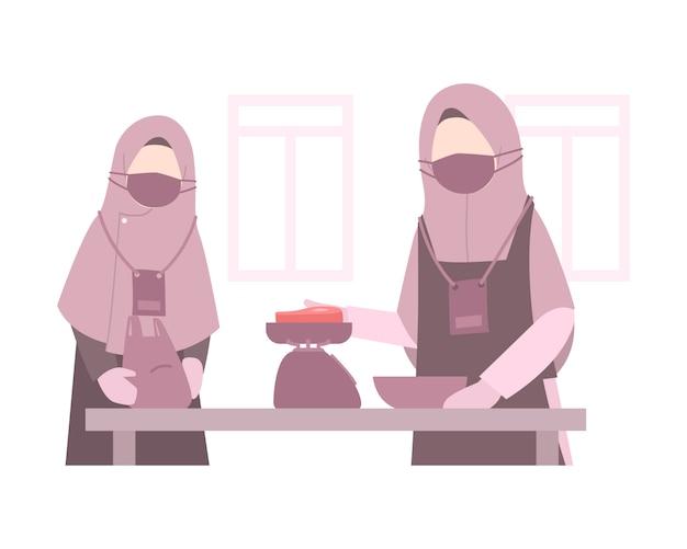 イスラム教徒の女性とイードアルアドハイラスト背景ヒジャーブを身に着け、肉の重量を量る