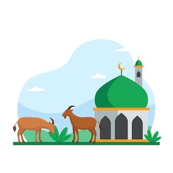 イードアル犠牲祭イスラムの休日の家畜のイラストの犠牲。クルバンのベクトル図のモスクの中庭でヤギ
