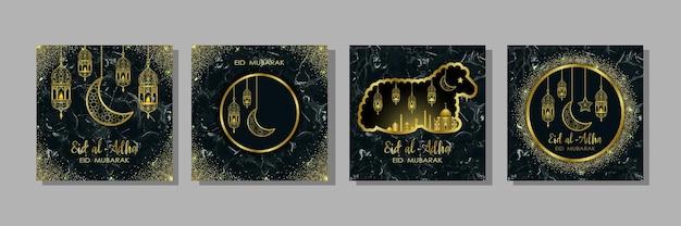 이드 알 아드하 대리석 템플릿 세트 아랍어 황금 랜턴 반달 마을과 양이 있는 무바라크 프린스