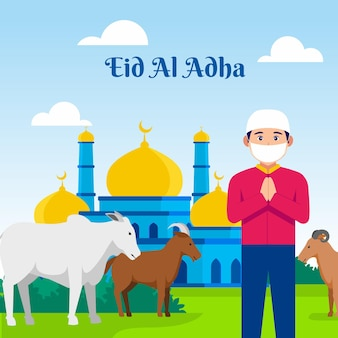 Eid al adha mubarak 이슬람은 qurban 벡터 일러스트레이션을 위해 염소와 소를 가져옵니다.