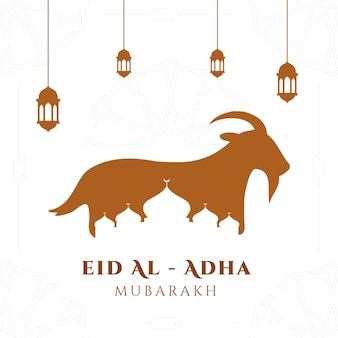 Eid al adha mubarak background with goat and mosque illustration for greeting card