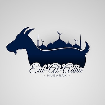 Eid al adha mubarak background with goat and mosque