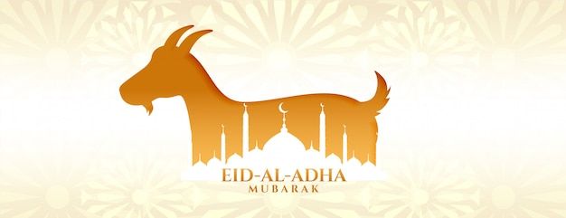 Eid al adha mubarak bakrid festival with goat and mosque