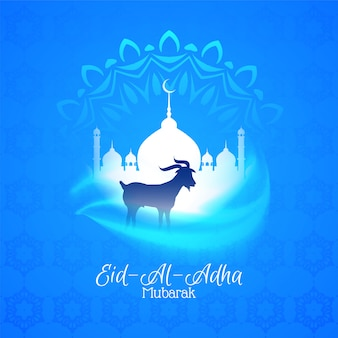 Eid al adha mubarak beautiful greeting blue background