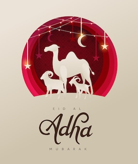 Eid al adha mubarak the celebration of muslim community festival background design with camel sheep and goat paper cut style