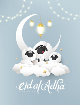 Eid al adha mubarak the celebration of muslim community festival background design