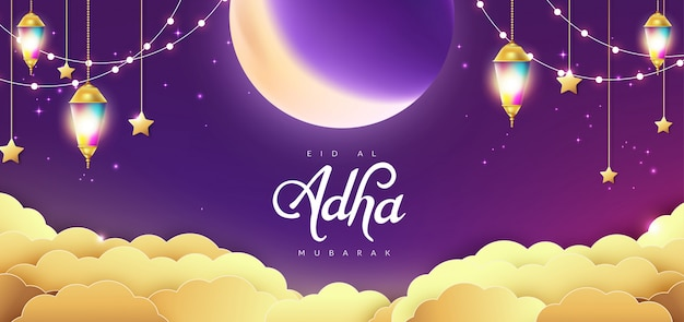 Eid al adha mubarak the celebration of muslim community festival calligraphy background design.