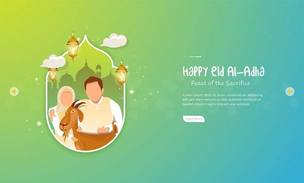 Eid al-adha mubarak celebration with a family and his goat for greeting concept