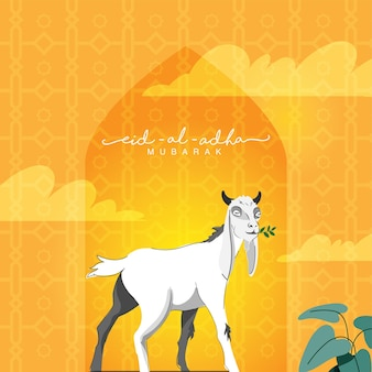 Eid-al-adha mubarak concept with cartoon goat feeding grass islamic pattern