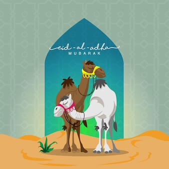 Eid-al-adha mubarak concept with cartoon two camel over desert view and green islamic pattern background.