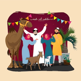 Eid-al-adha mubarak concept with cheerful muslim people character, goat and camel animal on maroon and beige background.
