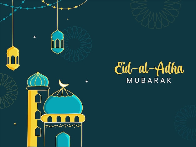 Eid-al-adha mubarak concept with mosque illustration, lanterns hanging