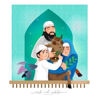 Eid-al-adha mubarak concept with muslim family holding goat