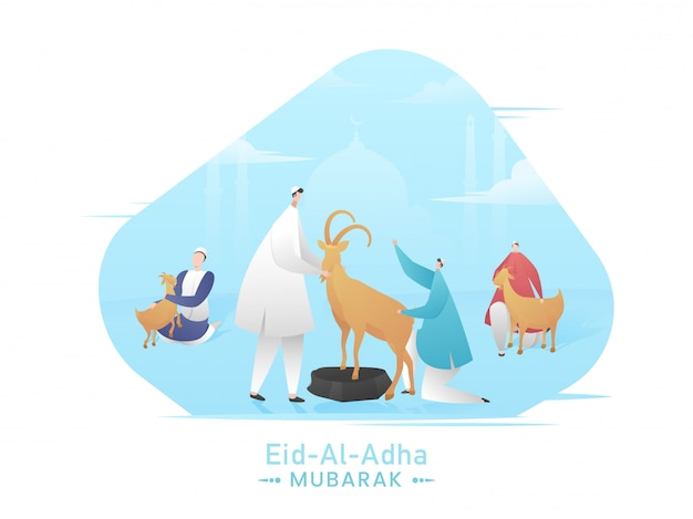 Eid-al-adha mubarak concept with muslim men holding cartoon goats and blue silhouette mosque on white background.