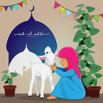 Eid-al-adha mubarak concept with muslim young girl praying before qurbani (sacrifice) of goat and plant pots on mosque background.