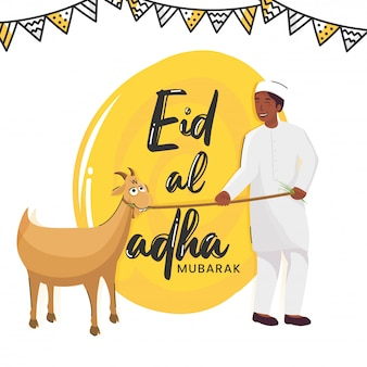 Eid-al-adha mubarak font and muslim young boy holding a rope of goat on white and yellow background.