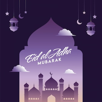 Ид аль адха мубарак шрифт с мечеть, висячие полумесяца, фонари и звезды, украшенные на фиолетовом фоне.