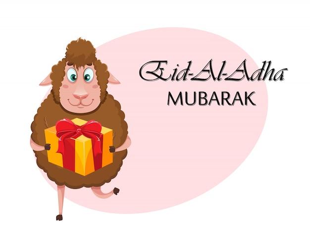 Eid al-adha mubarak. funny cartoon sheep