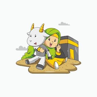 Ид аль адха мубарак. девушка, коза и мекка с иллюстрацией