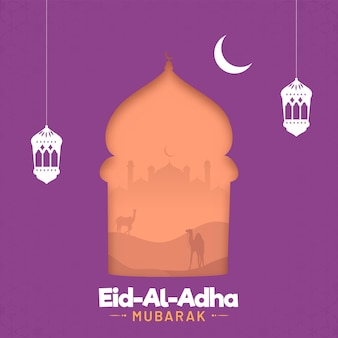 Eid-al-adha mubarak greeting card with crescent moon, lanterns hang, silhouette mosque and desert view on purple background.