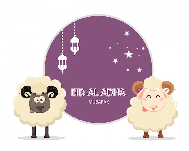 Eid al adha mubarak greeting card with two rams