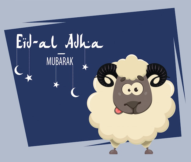 Eid al adha mubarak greeting card