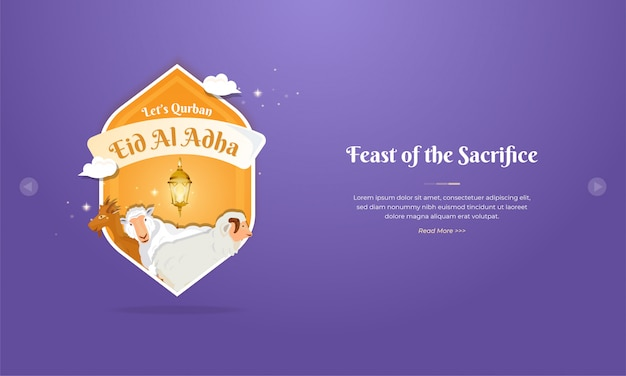Eid al adha mubarak greeting concept with sheep and goat character