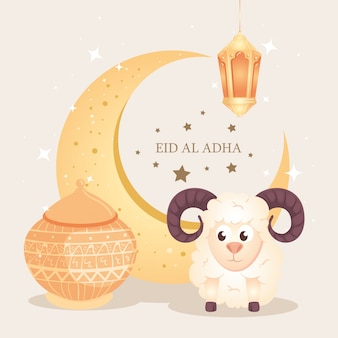 Eid al adha mubarak, happy sacrifice feast, with goat and traditional icons