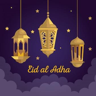 Ид аль-адха мубарак, праздник счастливой жертвы, с висящими золотыми фонарями и украшением звезд