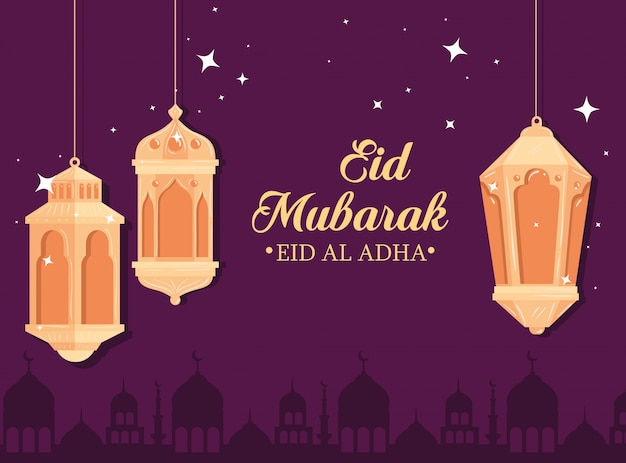 Eid al adha mubarak, happy sacrifice feast, with lanterns hanging and silhouette arabia city