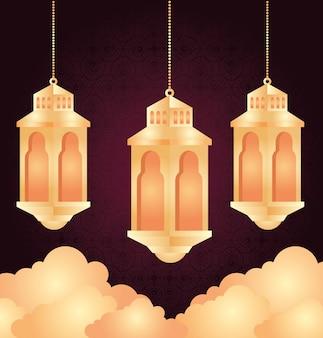 Eid al adha mubarak, happy sacrifice feast, with lanterns hanging with clouds decoration