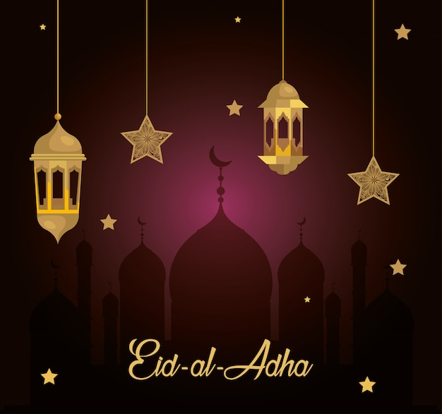 Eid al adha mubarak, happy sacrifice feast, with lanterns and stars hanging