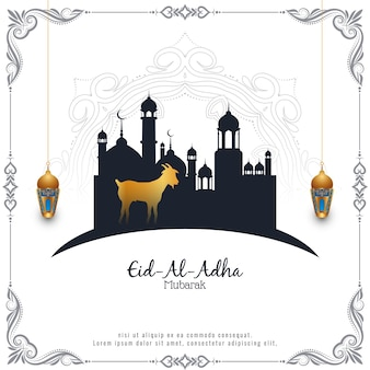 Eid al adha mubarak islamic festival celebration with mosque design vector
