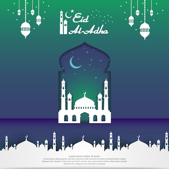 Eid al adha mubarak islamic greeting card design