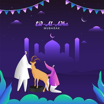 Eid-al-adha mubarak poster design with muslim men holding a cartoon goat and silhouette mosque