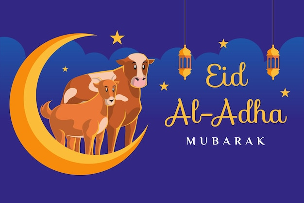 암소와 염소가 있는 eid al adha mubarak 텍스트는 진한 파란색 배경의 달 삽화에 있습니다.