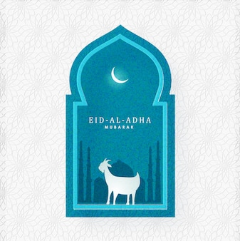 Eid-al-adha mubarak text with silhouette goat, mosque and crescent moon on blue grain and white arabic pattern background.