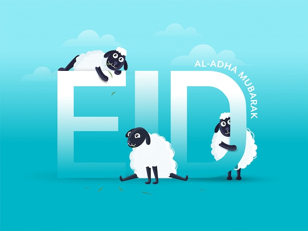Eid-al-adha mubarak text with three cartoon funny sheep on sky blue background.