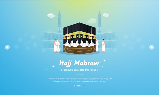 Eid al adha mubarak with hajj mabrour on kaaba illustration concept