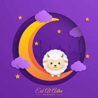 Eid al adha mubarak  with lantern crescent and sheep