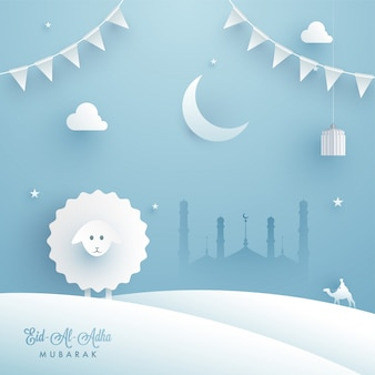 Eid-al-adha mubarak with paper-art of sheep